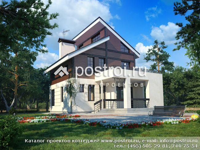 Сравнить.  Проект узкого дома с мансардой выполнен в необычном для современной архитектуры стиле. пенобетон.